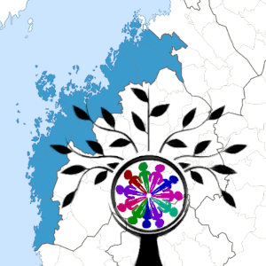 Ostrobothnia on a map with symbols for a flourishing community