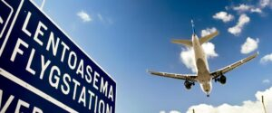 Lentoasema Flygstation airport sign and airplane